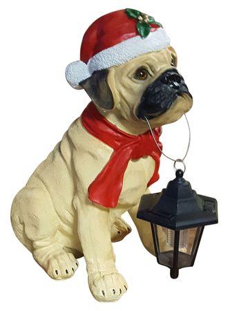 Hund mit LED-Solarlampe Weihnachtsfigur 42 cm Weihnachtsdeko Outdoor – Bild 1