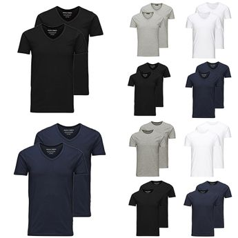 JACK & JONES Herren T-Shirt 2er Pack Basic O-Neck V-Neck Shirt S M L XL XXL