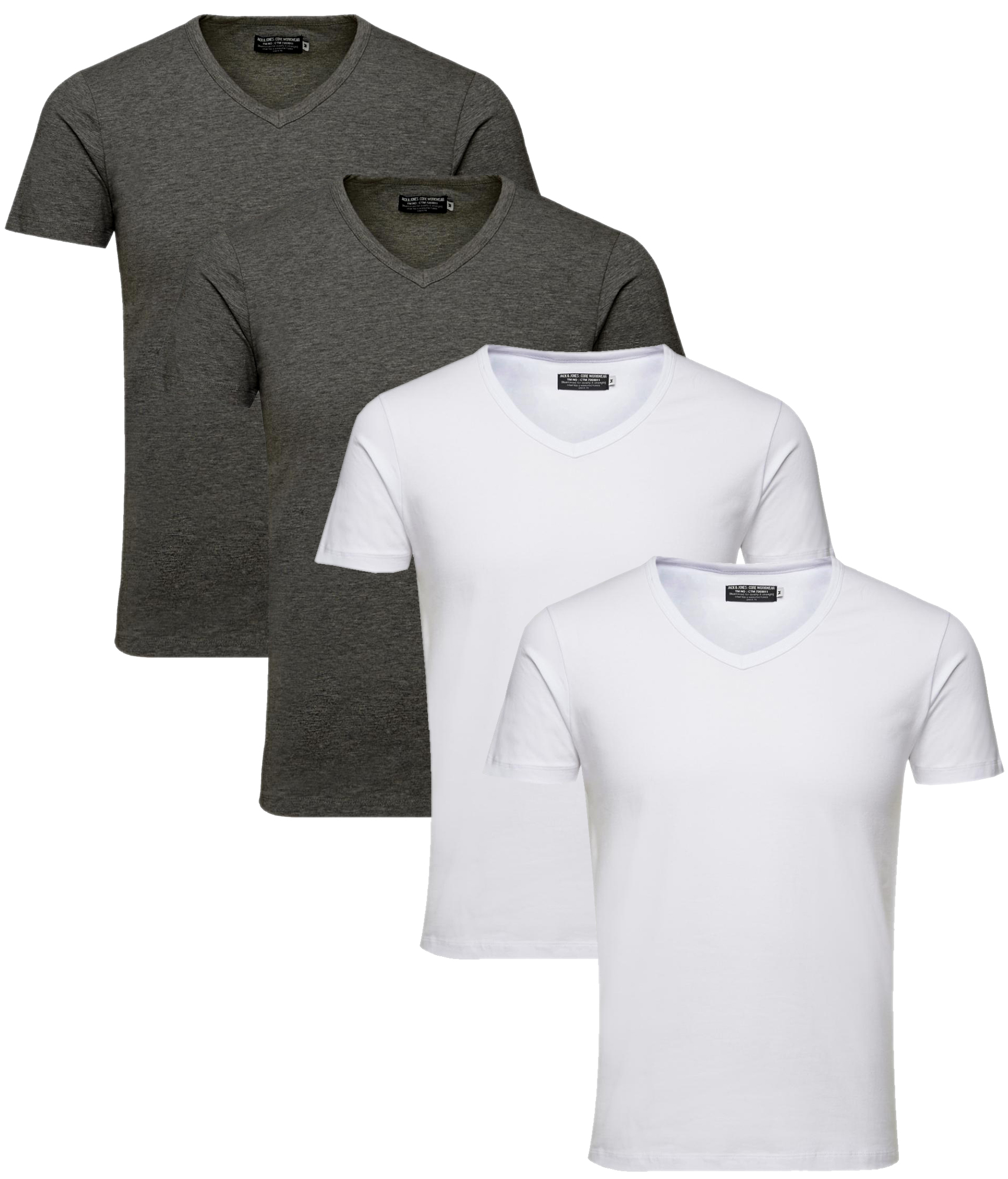 3025 JACK & JONES T-Shirt 4er Pack Herren Basic Shirt V-Neck