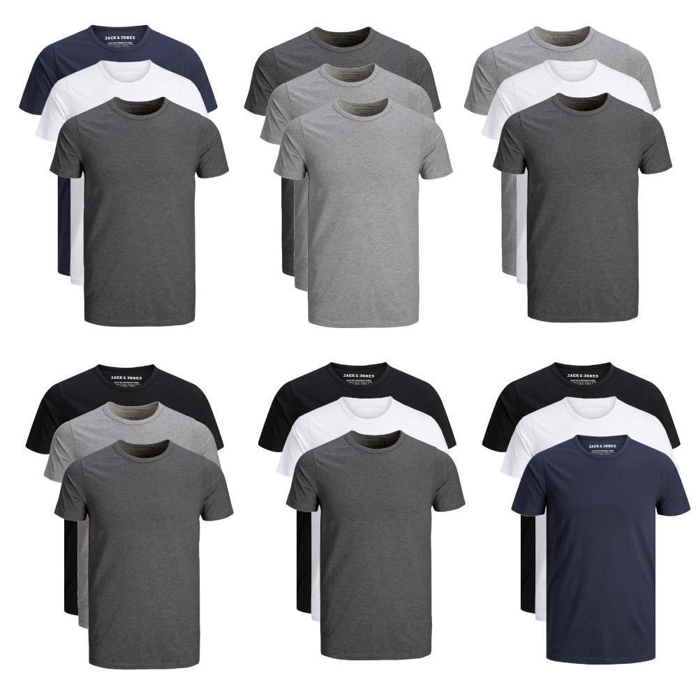 Jack & Jones 3er Pack O-Neck T-Shirt Herren Slim Fit weiß schwarz grau blau