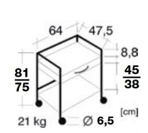 Quickstar Beistellwagen, Gerätetisch, 64 cm breit, 81 cm hoch, 1 Stahl Schublade