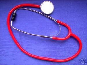 Flachkopf Stethoskop rot, für Arzt, Praxis, Krankenhaus