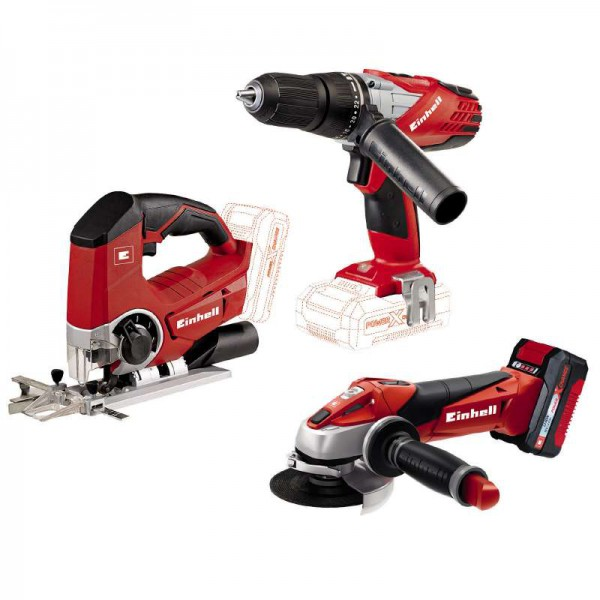 einhell te tk 18li 2 machine set screwdriver jigsaw angle grinder 18v ebay. Black Bedroom Furniture Sets. Home Design Ideas