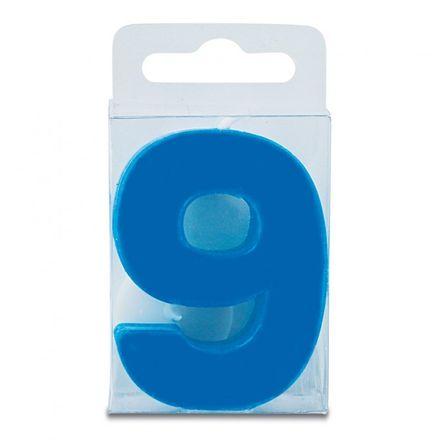 Städter Zahlenkerze blau mit Halter - 9