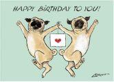 Loriot Postkarte - Happy Birthday to you! (Möpse)