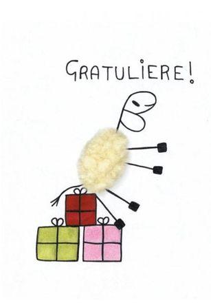 Plüsch-Postkarte - Gratuliere, Schaf