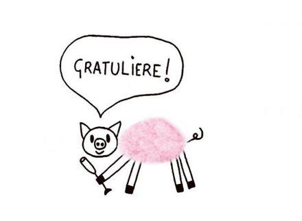 Plüsch-Postkarte - Gratuliere, Schwein