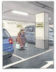Postkarte - Frauenparkplatz, geparkte Frau