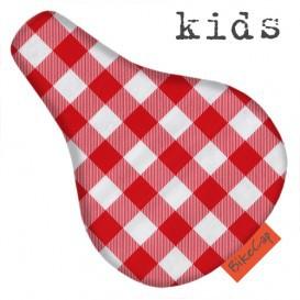 BikeCap Kids Sattelschoner für Kinder - Karo rot
