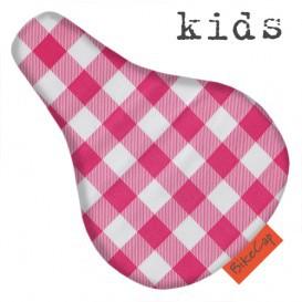 BikeCap Kids Sattelschoner für Kinder - Karo rosa