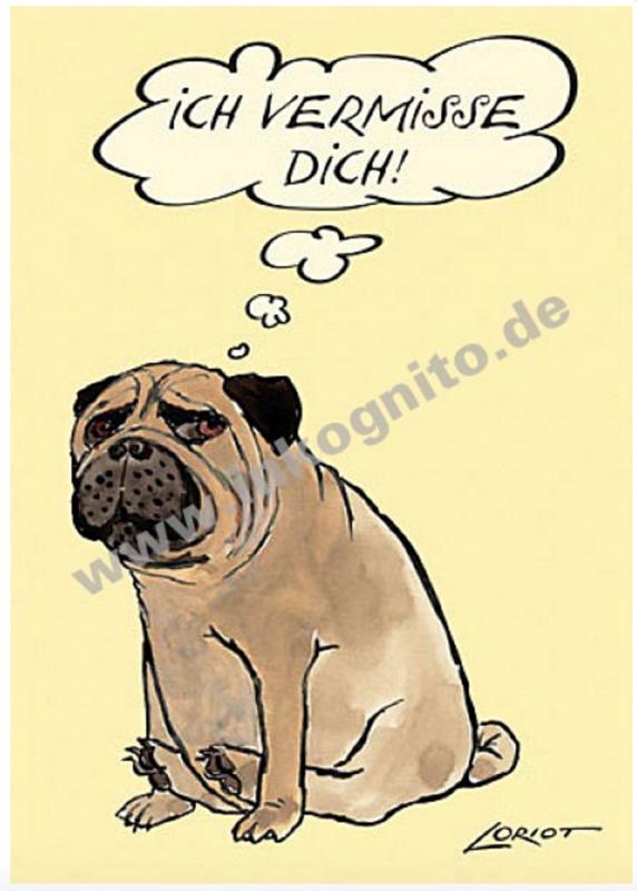 Loriot Postkarte Ich Vermisse Dich Mops Buchwaren Papeterie