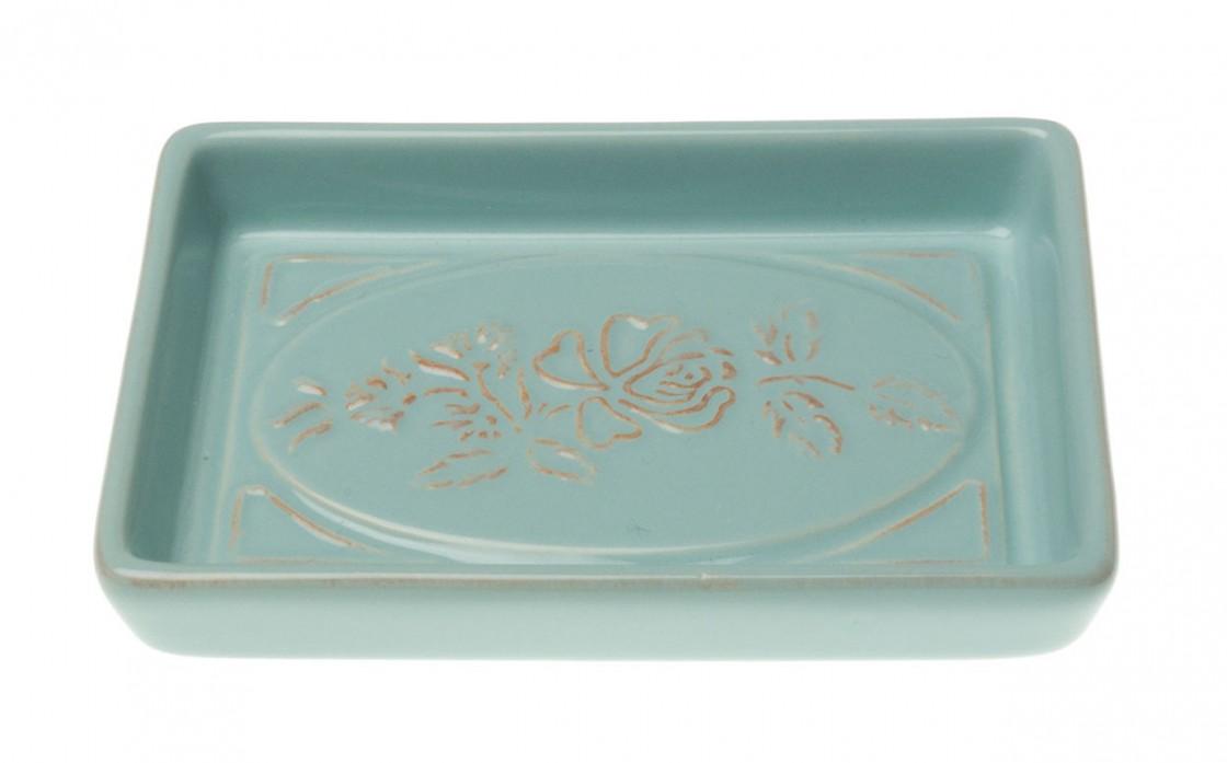 seifenschale seifenteller keramik mintgr n mit blumenmuster romantik look ebay. Black Bedroom Furniture Sets. Home Design Ideas
