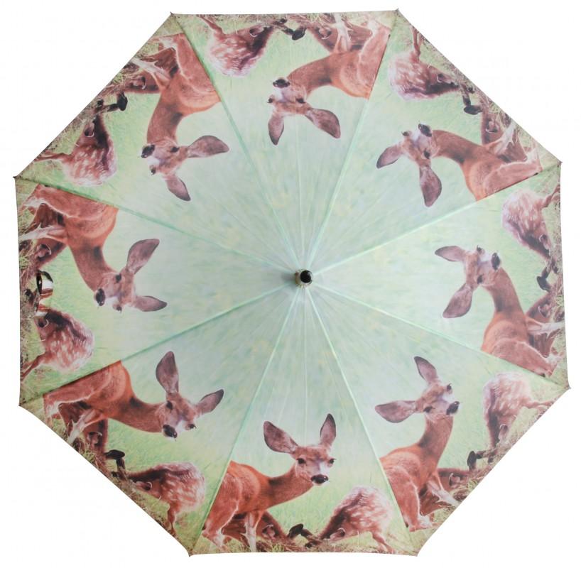 Regenschirm Stockschirm mit Holzgriff grün- braun Reh mit Kitz Wild Waldtiere 002