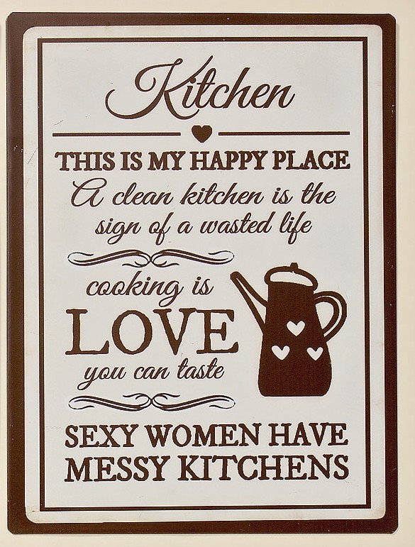 "Wandschild Metallschild Schild creme- braun ""Kitchen this is my happy place..."" 001"
