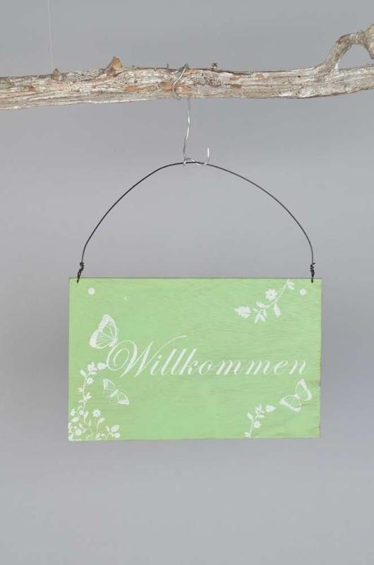 """Holzschild Türschild Schild mit Drahtaufhängung grün Retro Look """"Willkommen"""" 001"""