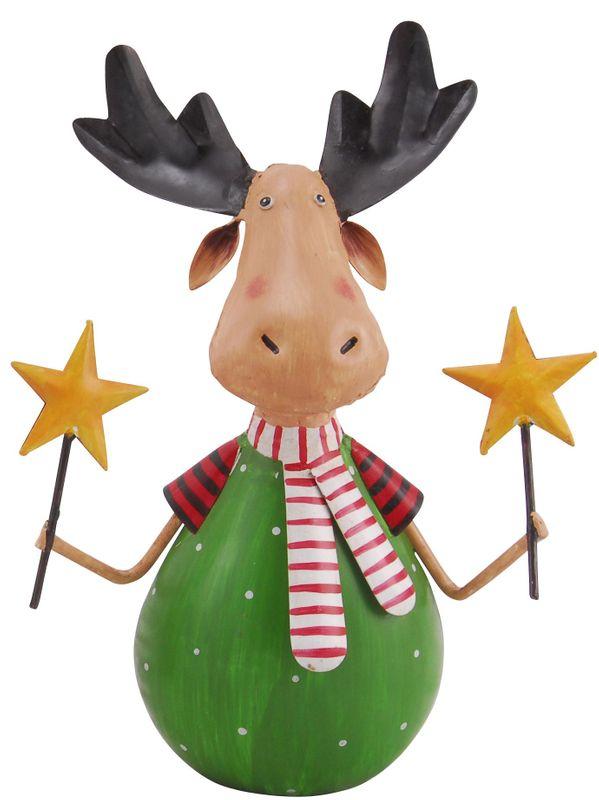 Elch Rentier Metallfigur Stabfigur Metall grün mit Sternen Handarbeit Weihnachten 001
