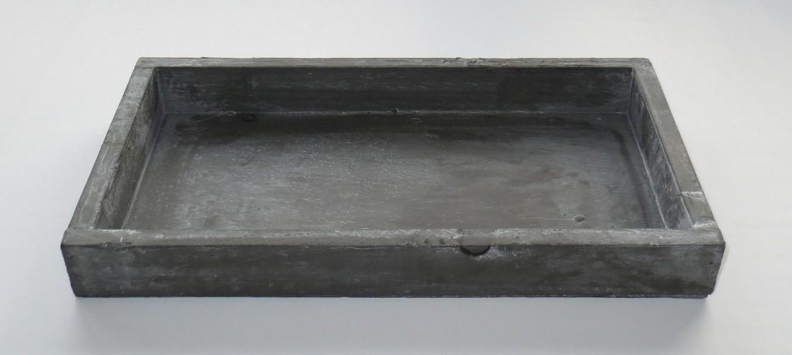 2er Set Kerzentabletts Tabletts Holz grau- gekälkt 25 x 13 cm Shabby Look B-Ware 001