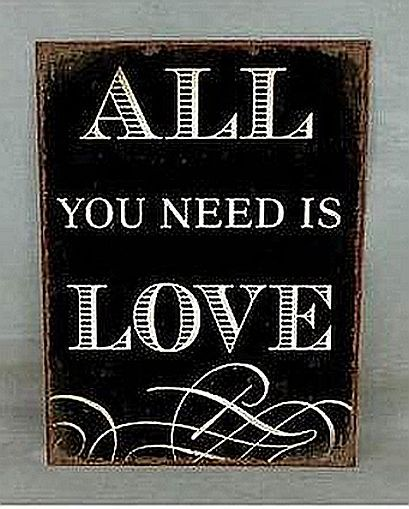 "Metallschild Wandschild Türschild ""All you need is Love"" 001"