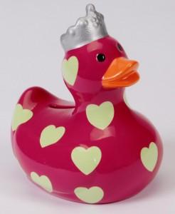 Spardose Moneybank Savingbank Duck Ente Keramik pink hellgrüne Herzchen  001