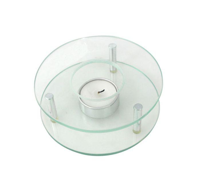 Stövchen Warmhalteplatte Rechaud rund Glas und Edelstahl 001
