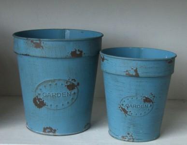 "2er Set Topf Metalltopf Pflanztopf rund im Country- Style blau ""Garden"" 001"
