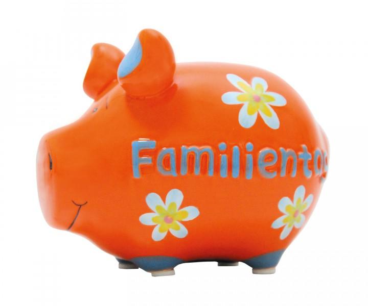 """Sparschwein Moneybank """"Familientag"""" orange- bunt 001"""