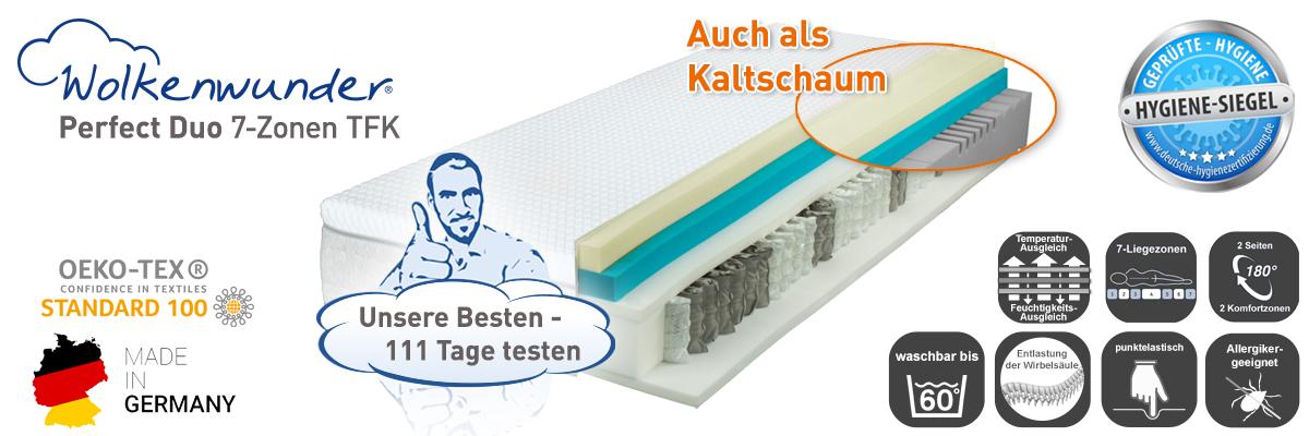 Wolkenwunder Perfect DUO TFK Taschenfederkernmatratze inkl. integriertem Topper