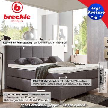 Breckle Boxspringbett Arga Preime 140x200 cm inkl. Topper 3700 (Gelschaum) und Kissenset – Bild 2