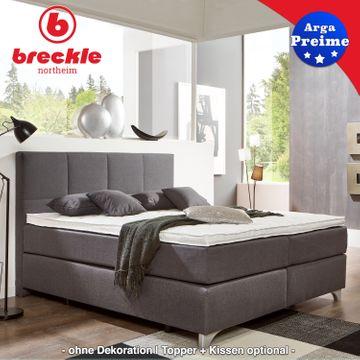 Breckle Boxspringbett Arga Preime 140x220 cm inkl. Topper 3700 (Gelschaum) und Kissenset – Bild 1