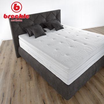 Breckle Boxspringbett Arga Palace 200x200 cm inkl. Gel-Topper Platin Premium & Kissenset – Bild 3