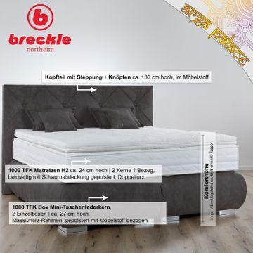 Breckle Boxspringbett Arga Palace 200x200 cm inkl. Gel-Topper Platin Premium & Kissenset – Bild 2