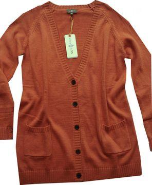 Surkana kuscheliger Strick-Cardigan ziegelrot 2 Taschen BACO3307