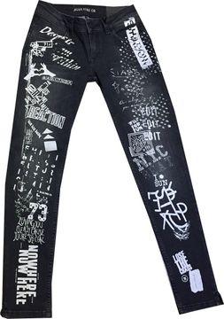 Blue Fire stylische Jeansröhre black washed cool art Graffitiprints Alicia 1019