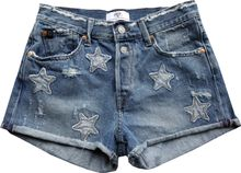 Le Temps Des Cerises freche Jeansshorts lightblue used destroyed Sternapplikationen Bastille