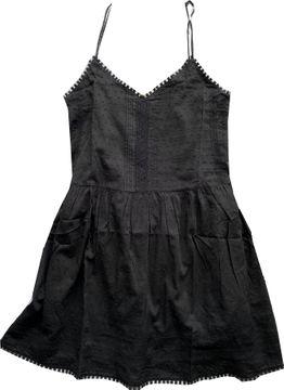 Khujo Trägerkleid black Tupfenbatist Spitze Felicity