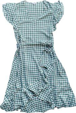 Khujo leichtes Sommerkleid grün weiß kariert Volantsaum Terelle 1522DR201