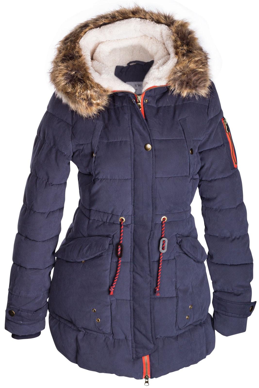 damen winter mantel jacke fell 2 in 1 kapuze stepp parka lang pelz alaska ebay. Black Bedroom Furniture Sets. Home Design Ideas