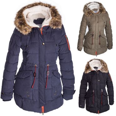 Damen Winterjacke Mantel Fell 2in1 Kapuze – Bild 1