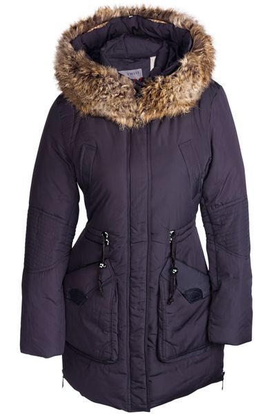 Damen Winterjacke Mantel Fell 2in1 Kapuze – Bild 8