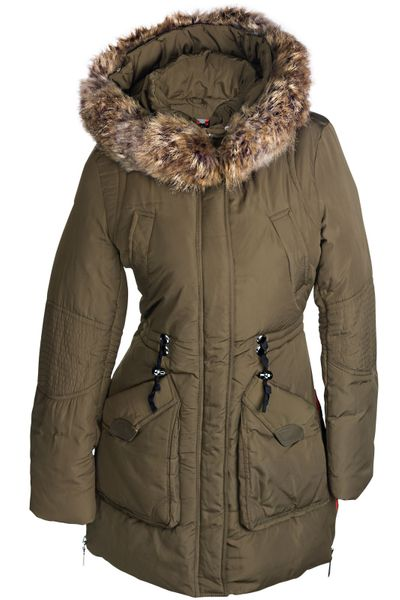 Damen Winterjacke Mantel Fell 2in1 Kapuze – Bild 7