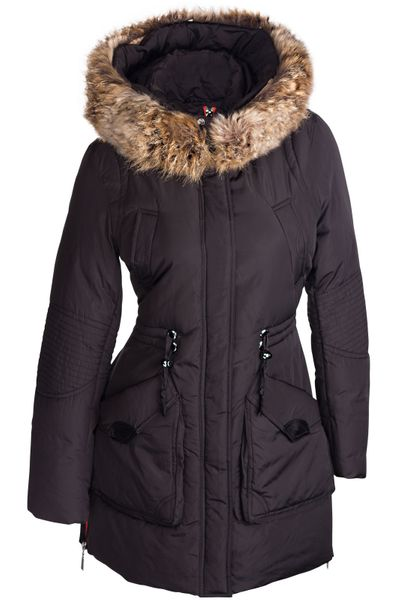 Damen Winterjacke Mantel Fell 2in1 Kapuze – Bild 6