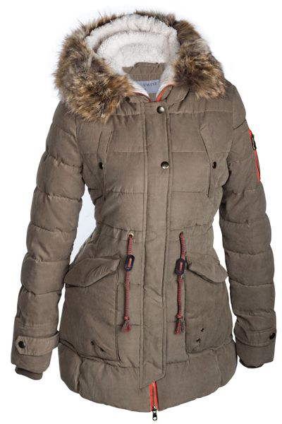 Damen Winterjacke Mantel Fell 2in1 Kapuze – Bild 2