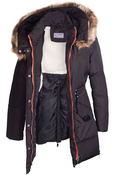 Damen Winterjacke Mantel Fell 2in1 Kapuze – Bild 18