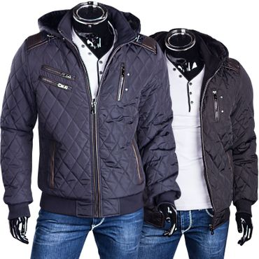 Herrenjacke Steppjacke Dauen Optik Winterjacke Mit Fell Und Kapuze