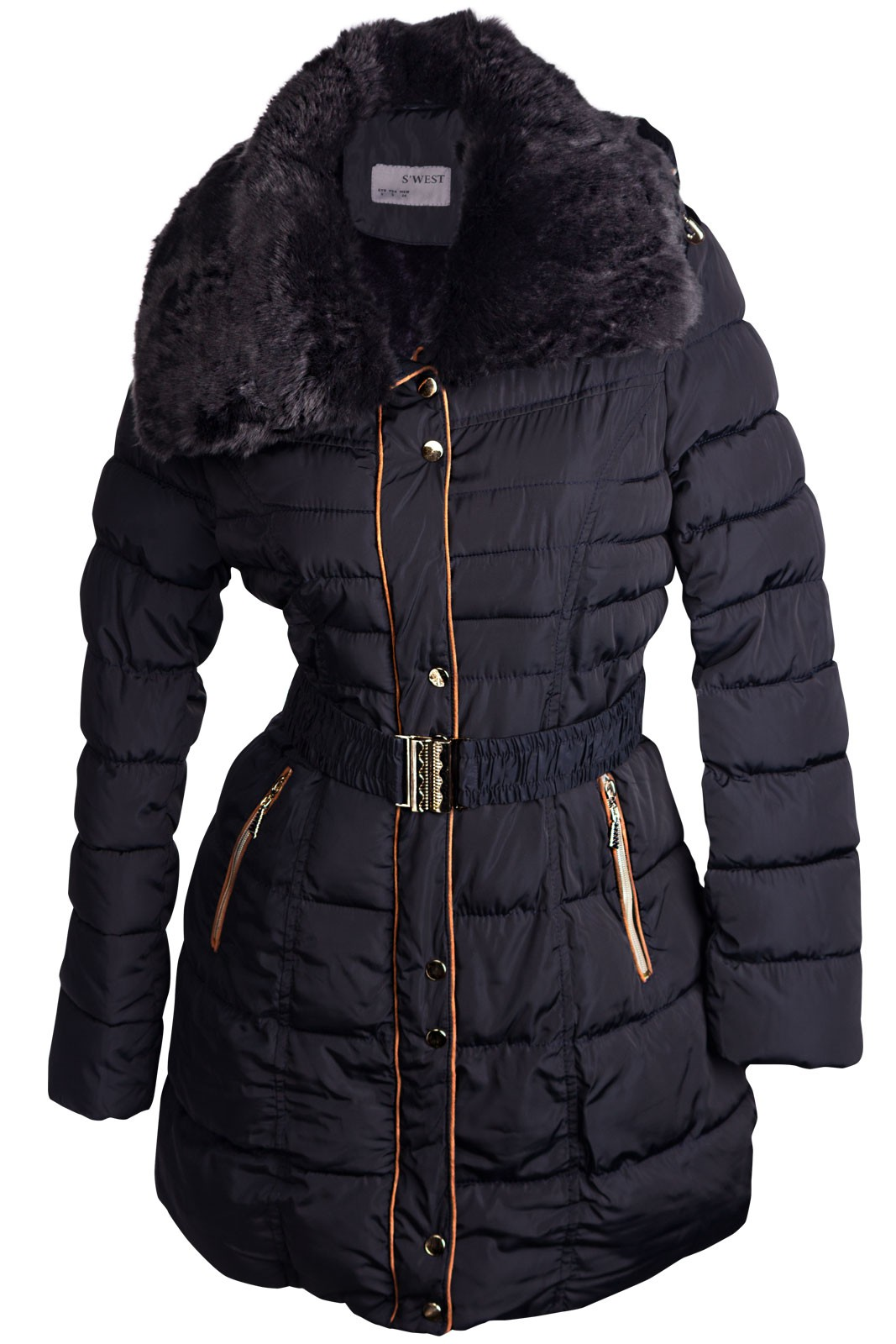 damen winter mantel stepp jacke parka lang fell kapuze. Black Bedroom Furniture Sets. Home Design Ideas