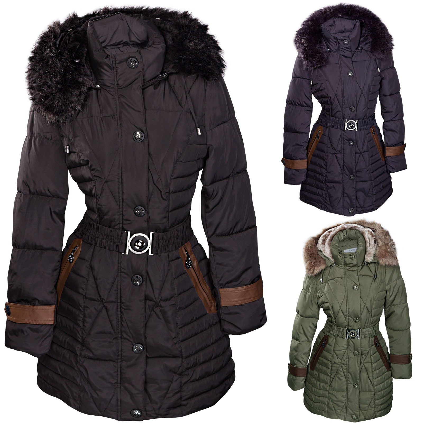 damen wintermantel fellkapuze daunen look parka bergangsjacke bergr en verf gbar damen mode. Black Bedroom Furniture Sets. Home Design Ideas