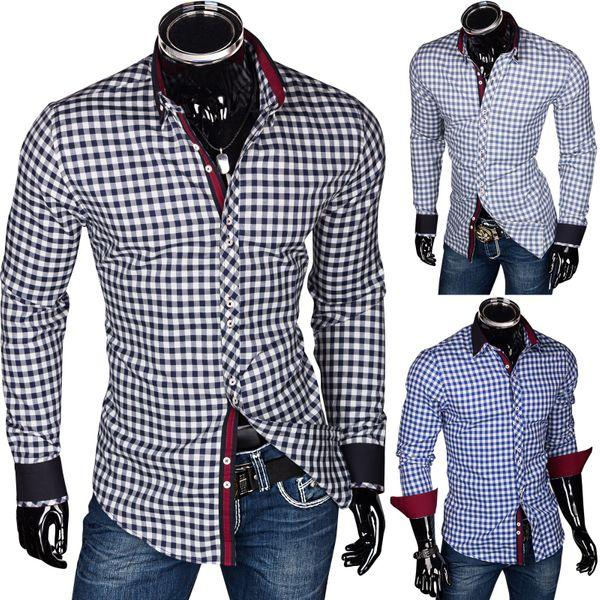Slim Fit Herrenhemd Figurbetont Kariert Polo Style – Bild 1