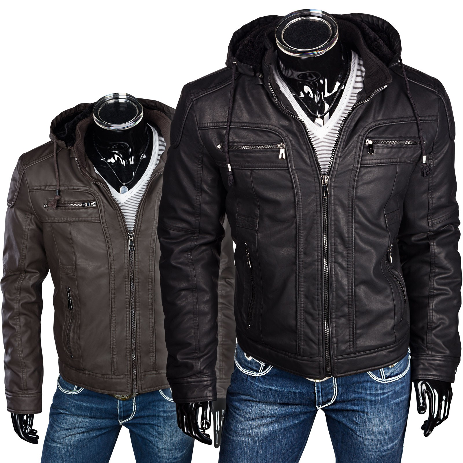 herren winterjacke kunstederjacke mit kapuze bikerjacke. Black Bedroom Furniture Sets. Home Design Ideas