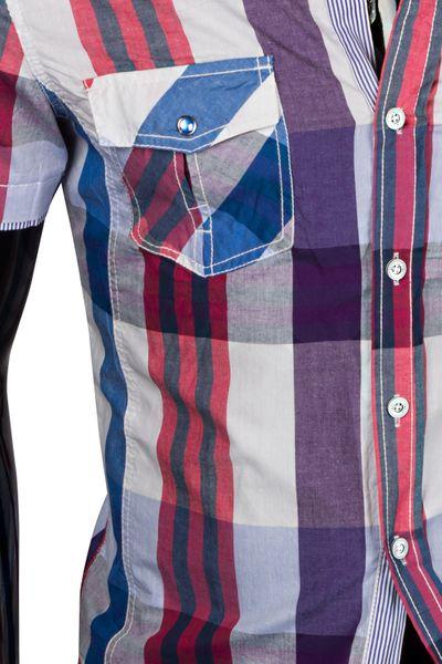 Herren Kurzarmhemd Slim Fit Figurbetont Kariert Polo Style – Bild 7