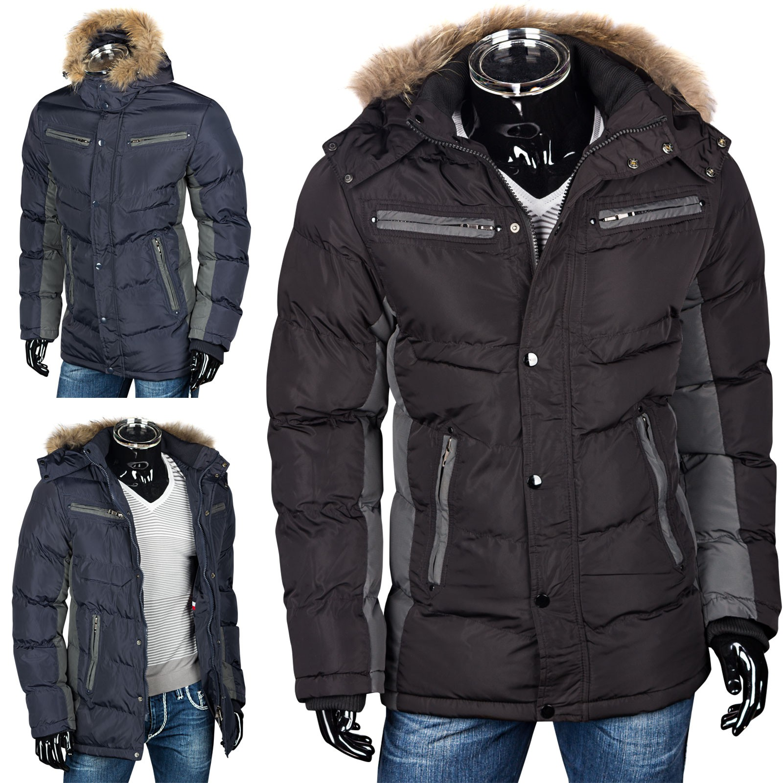 herren winterjacke steppjacke parka mit fellkapuze daunen look herren. Black Bedroom Furniture Sets. Home Design Ideas